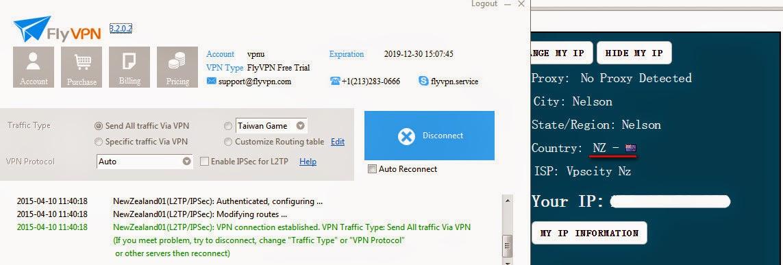 Got New Zealand IP address by FlyVPN