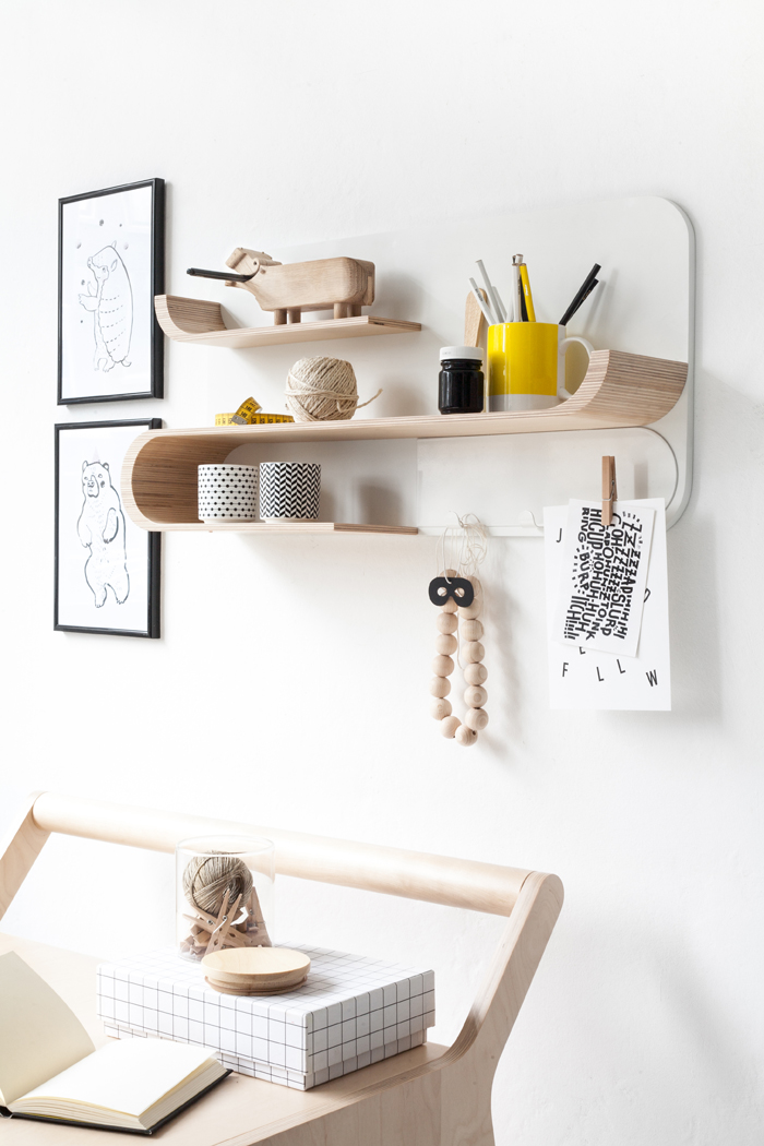 desk and shelf from Rafa-kids collection - natural wood finish