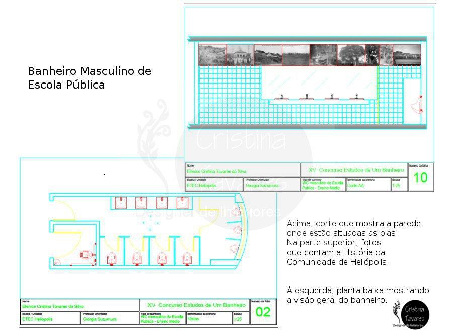 Cristina Tavares Banheiro Público Masculino  Planta e Corte # Banheiro Feminino E Masculino Planta