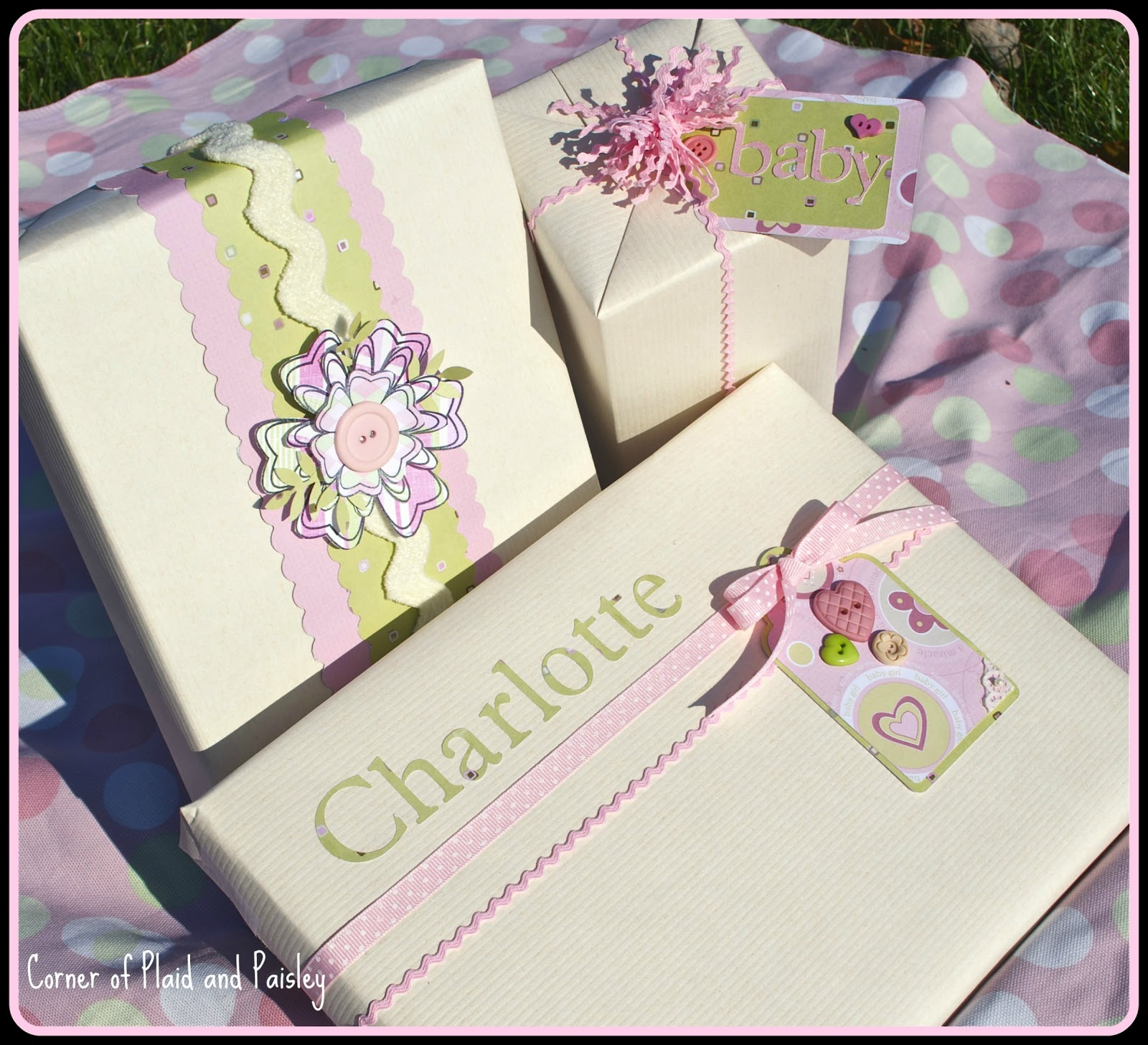 Corner of Plaid and Paisley: Baby Gift Wrapping - More Girls!
