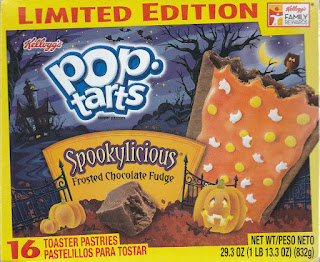Front of Kellogg's Spookylicious Frosted Chocolate Fudge Pop-Tarts box