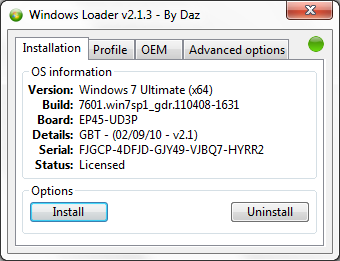 Windows Loader by Daz - Screen Shot