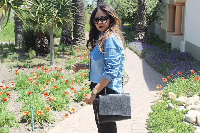 black joggers, cotton on, ombre hair curls, denim shirt, mr price denim shirt, zara black chain bag, prada cat eye sunglasses, legit, ankle strap heels