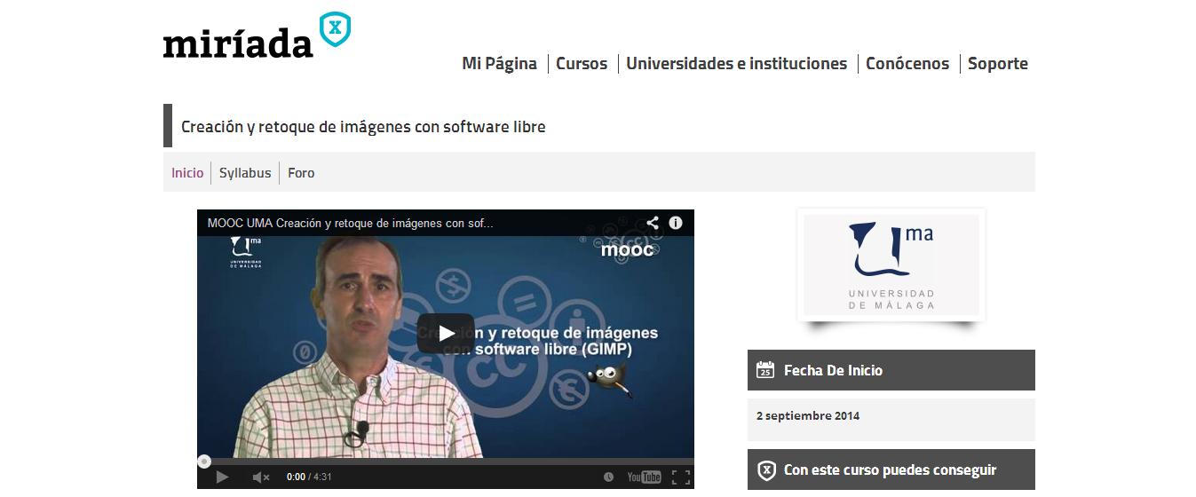curso MOOC imagenes software libre miriadax