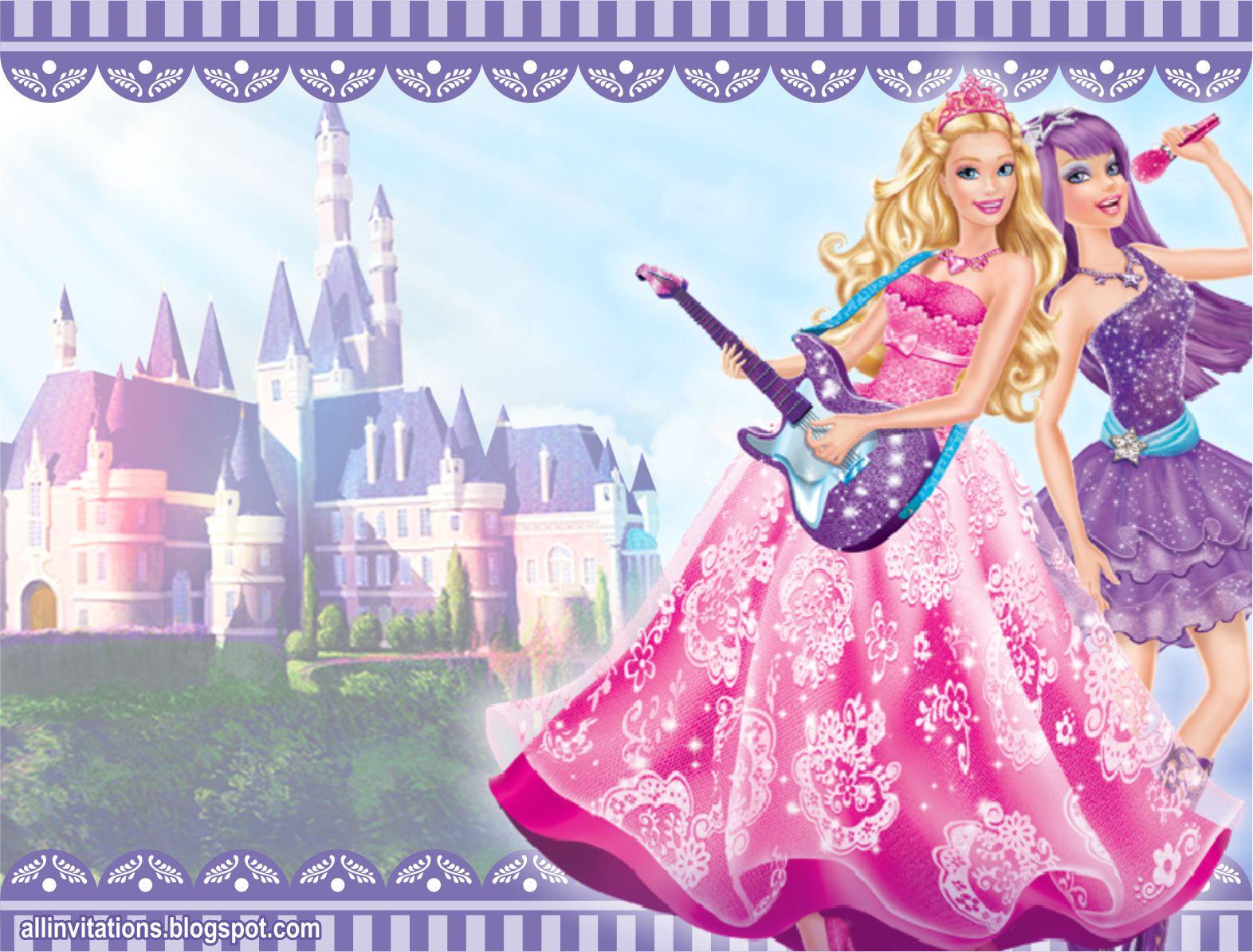 Invitación de cumpleaños con el tema de Barbie Popstar uno de los
