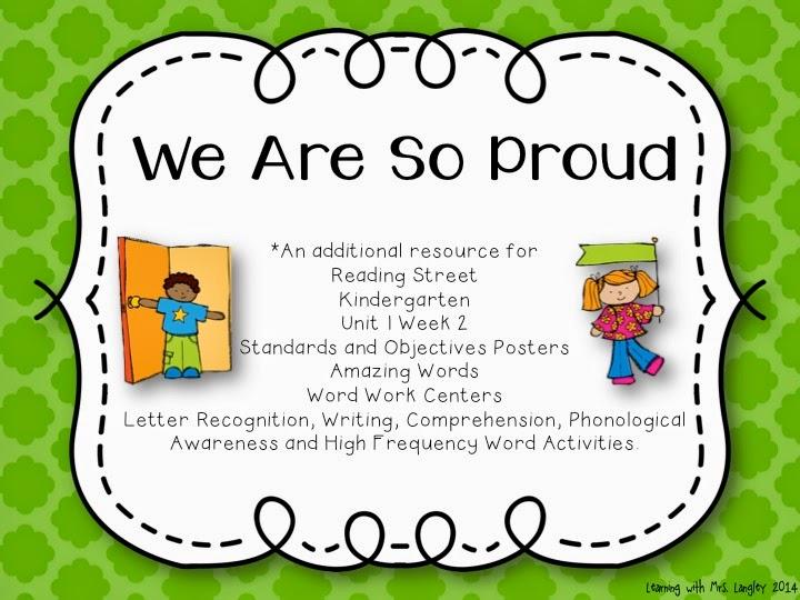 http://www.teacherspayteachers.com/Product/We-Are-So-Proud-Kindergarten-Unit-1-Week-2-1224395