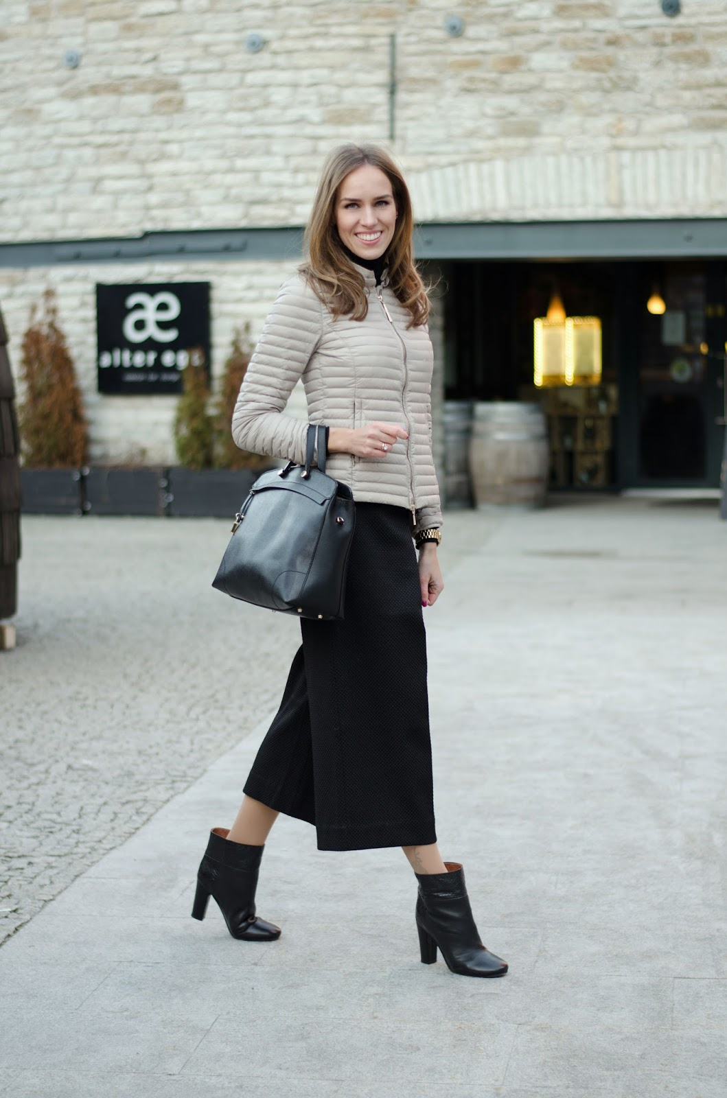 kristjaana mere lindex black culottes liu jo beige jacket see by chloe ankle boots furla bag