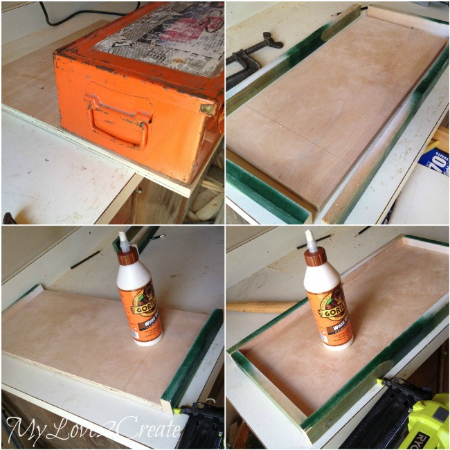 making wooden box for old tool box