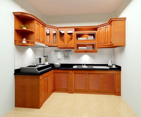 Kiểu tủ bếp chữ L hợp với nhiều thiết kế