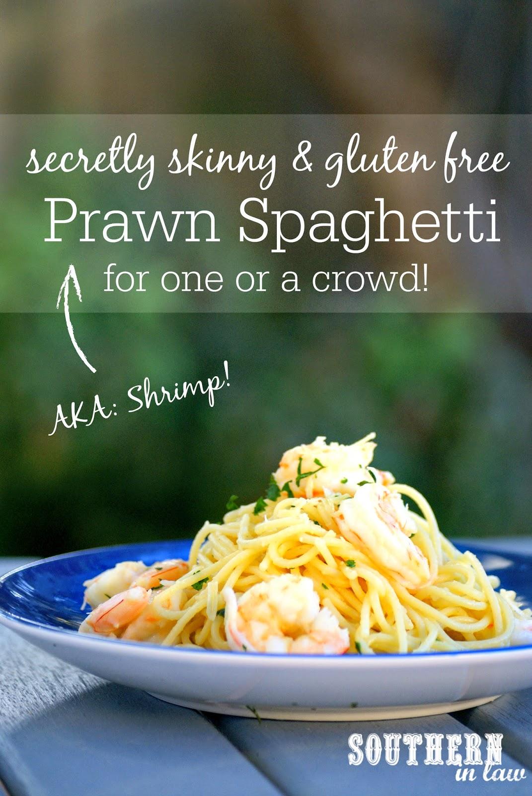 Lightened Up Prawn Spaghetti Recipe - gluten free, low fat, clean eating friendly, healthy spaghetti recipe