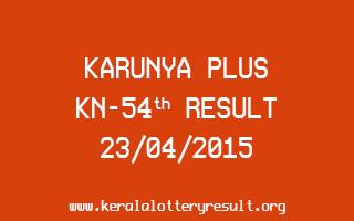 Karunya Plus KN 54 Lottery Result 23-4-2015