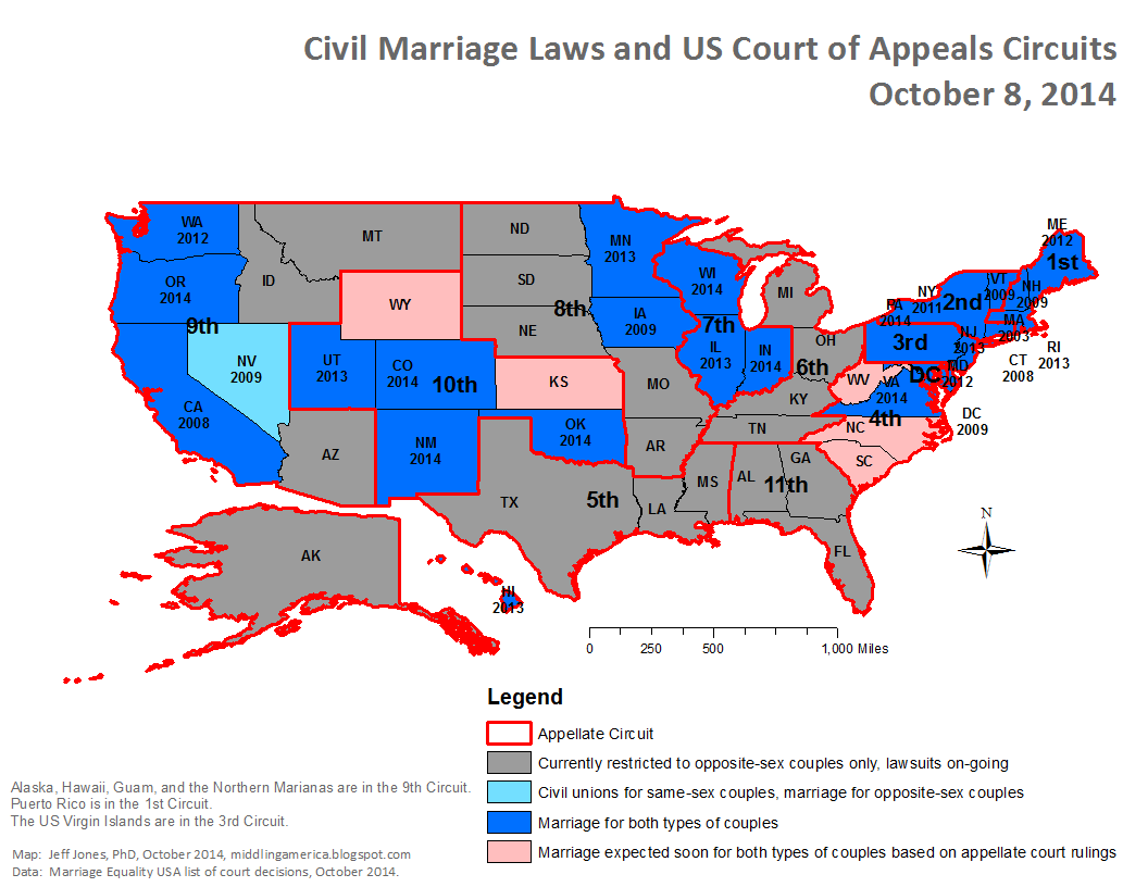 I Ve Updated Yesterday S Marriage Map To Show The Us Court Of Appeals Circuits There Are 11 Multi State Circuits Plus The 12th The District Of Columbia