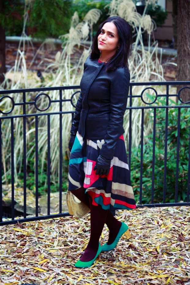 Top - GAP Jacket - Theory Skirt - DKNY Shoes - Dolce Vita Earrings - Lou Lou Boutique Tights - Falke Gloves - SAKS Bag - Fendi Tanvii.com