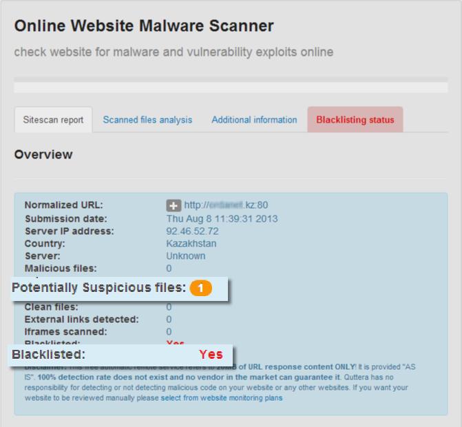 Quttera website malware scanner.