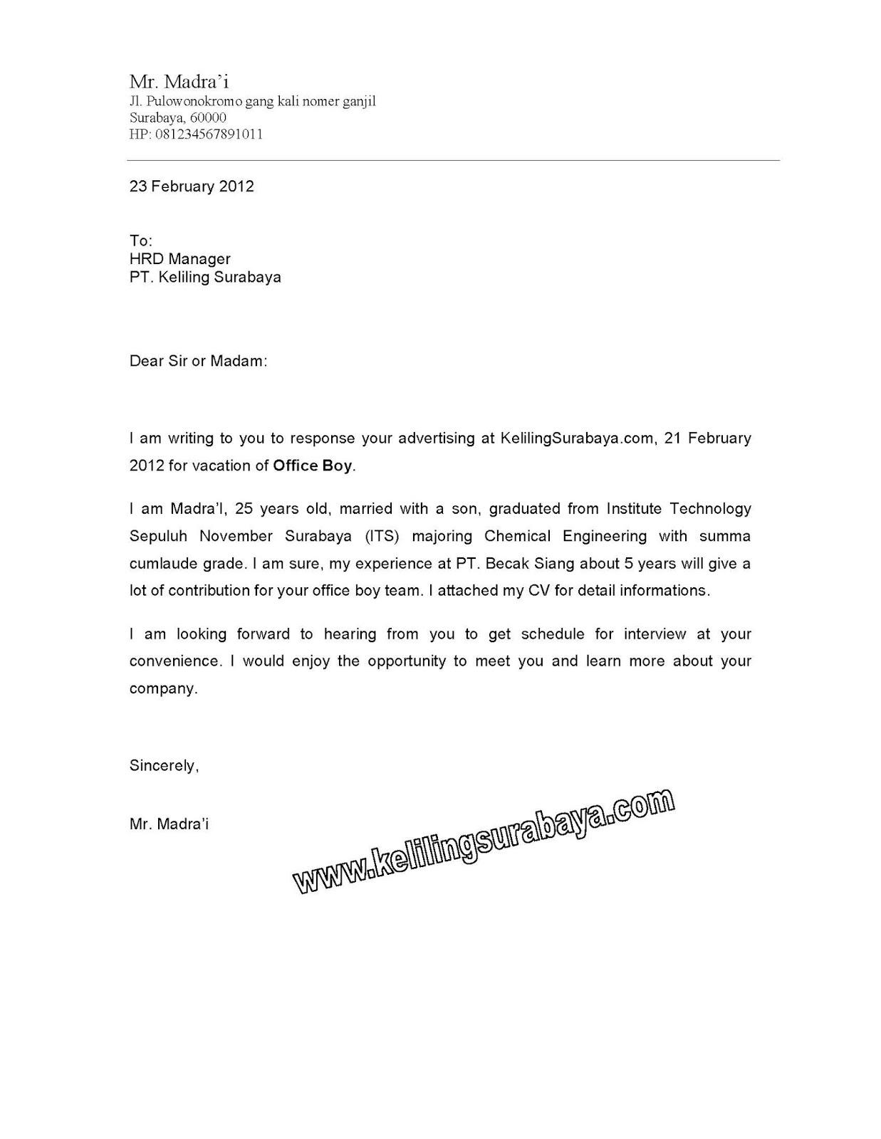 Contoh Surat Lamaran Pekerjaan Berdasarkan Iklan Contoh Surat