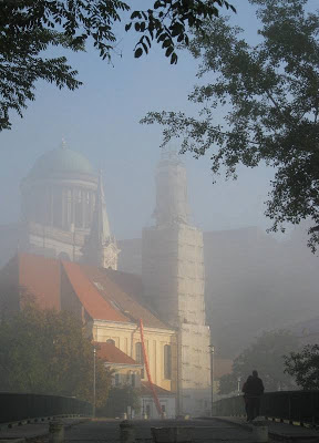 Misty view of a church