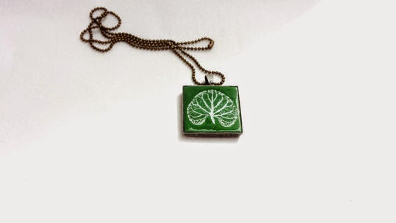 olive green pendant necklace by BettysRubble