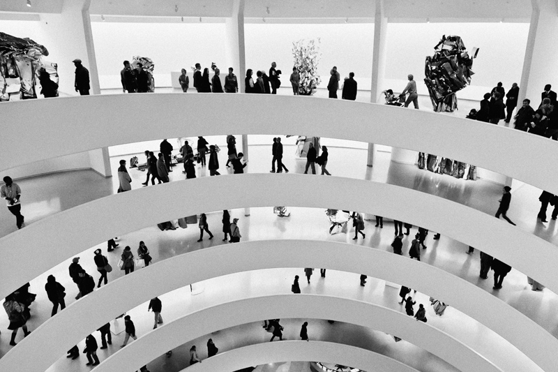 The spiraling floors of the Guggenheim Museum in New York City