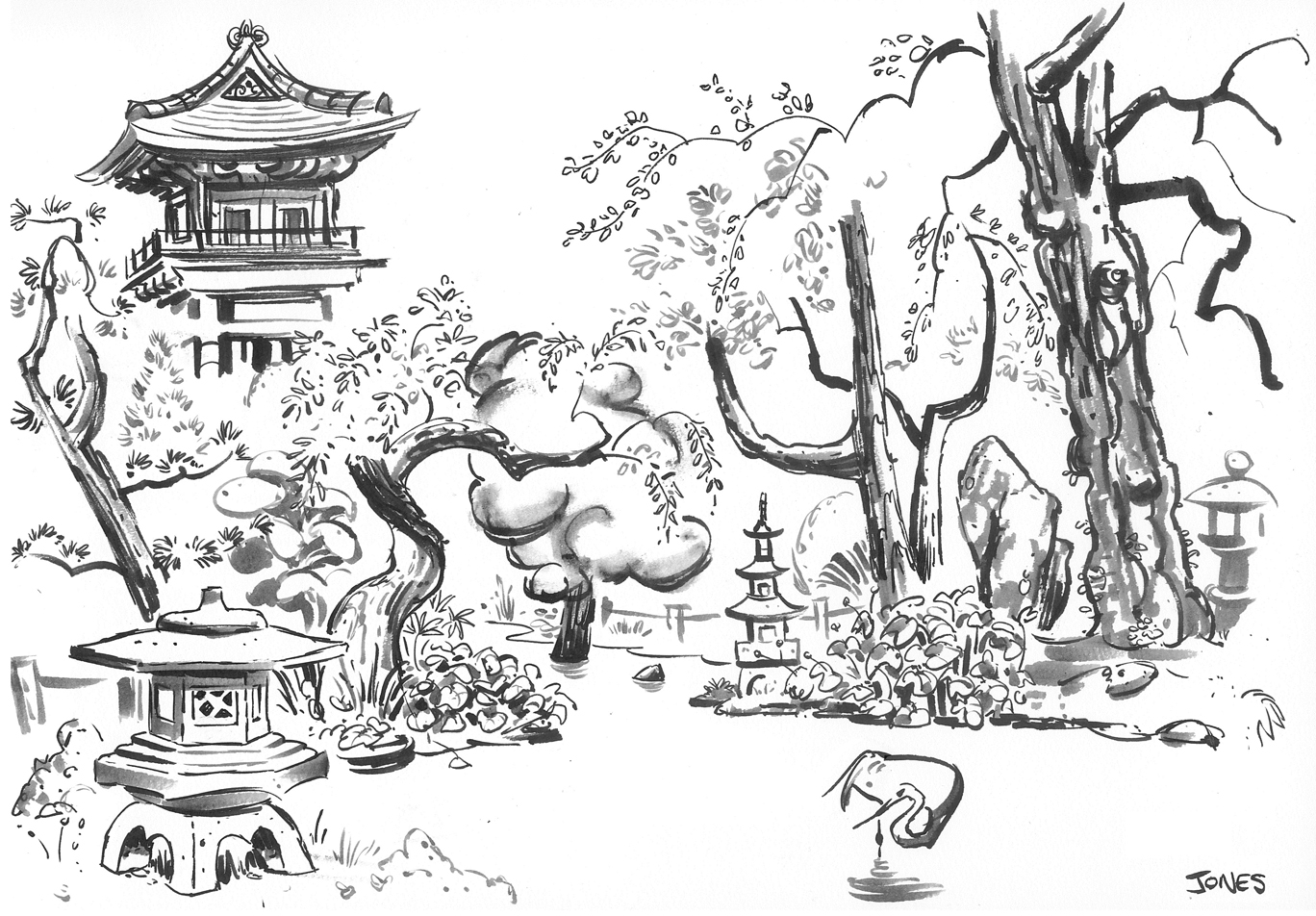japanese garden bridge drawing