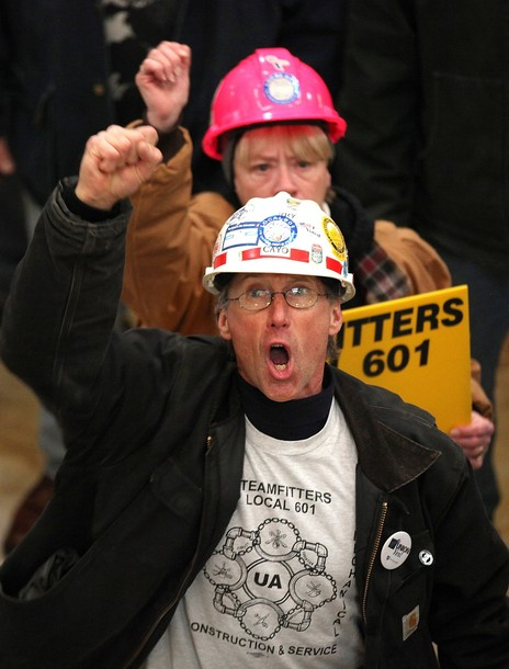 Union members at a rally in Wisconsin