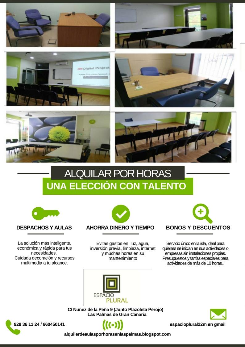 ALQUILER DE AULAS Y DESPACHOS POR HORAS