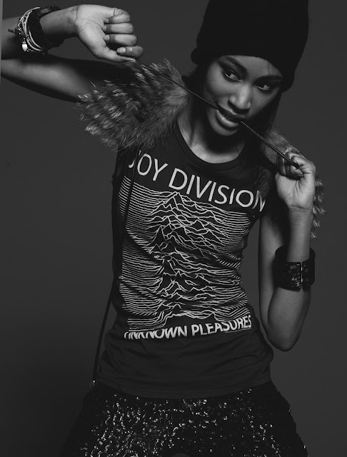 Photographer Bryan Whitely with stylist Jessica Moazami shooting model Ramera in Joy Division shirt
