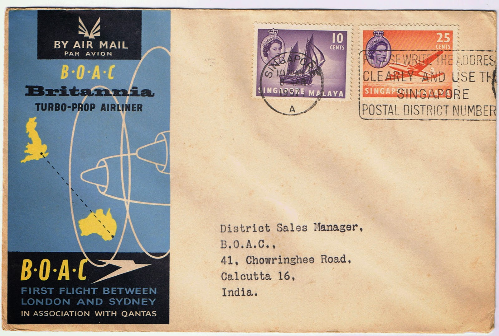 July 1957 LONDON TOKYO ROUTE Aero philately BOAC