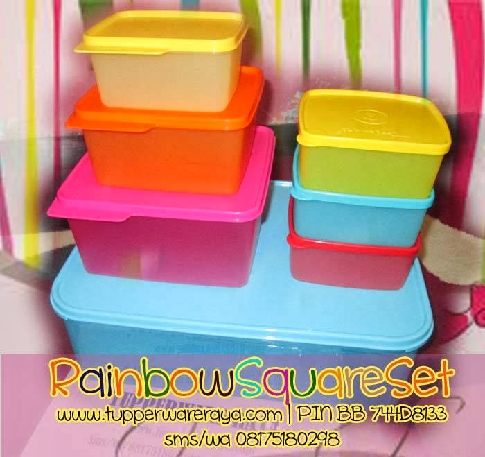 tupperwareraya,tupperware murah,Tupperware Rainbow Square Set