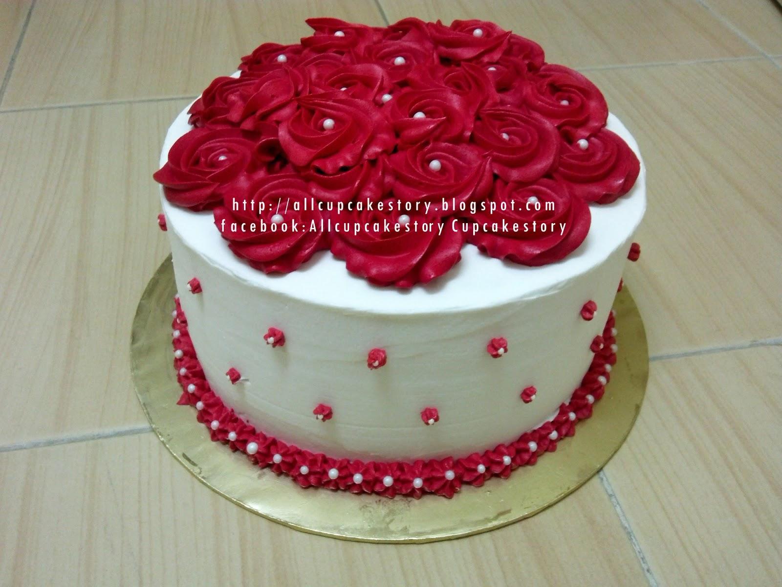 Allcupcakestory red white flower cake red white flower cake mightylinksfo Image collections