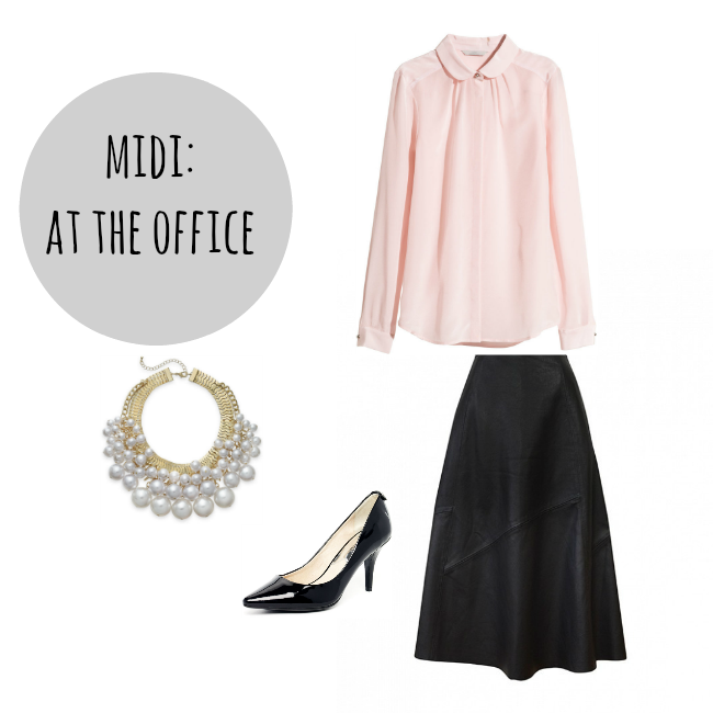 how to wear a midi skirt at the office
