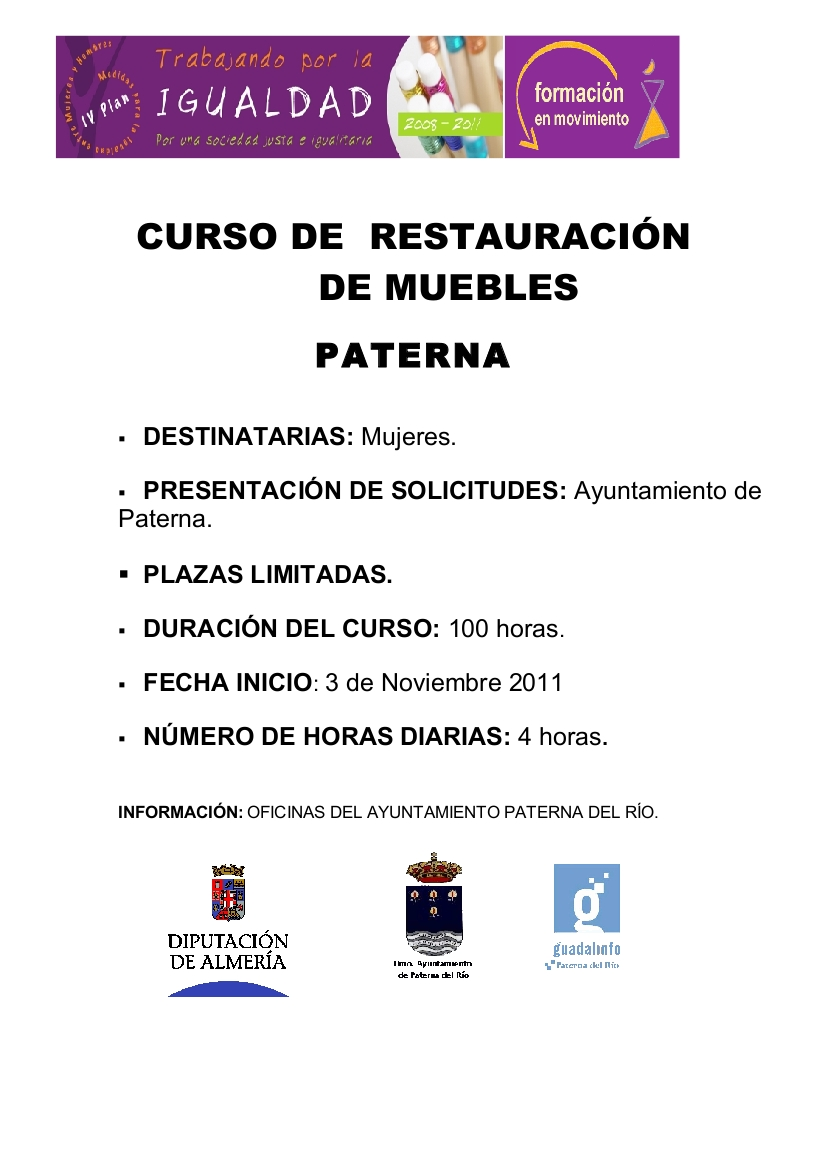 Paterna del r o curso de restauraci n de muebles for Videos de restauracion de muebles