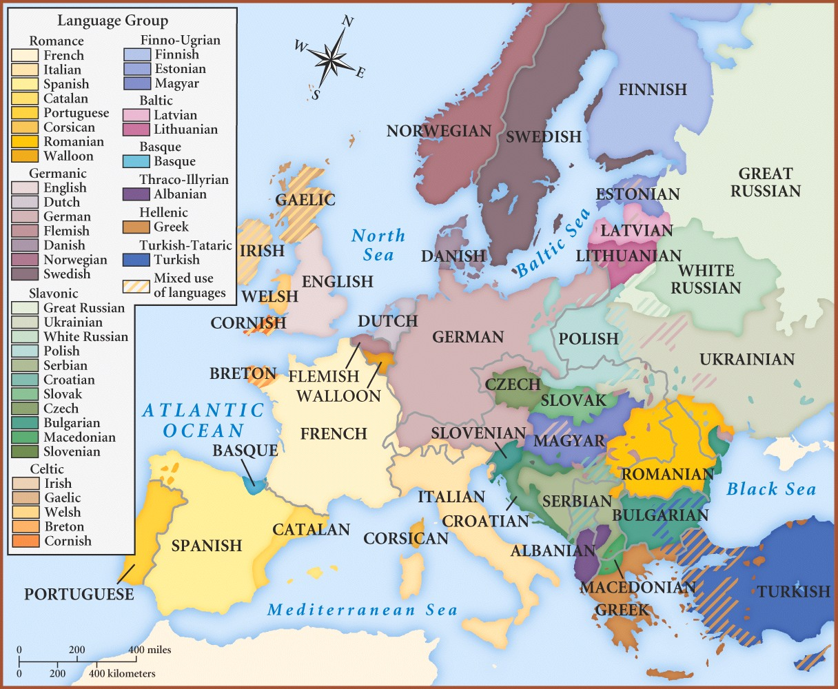 Languages Of Europe 1914. EUROPEAN LANGUAGES MAP