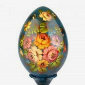 Decorative Floral Wooden Egg from Russia