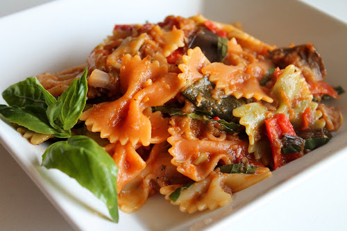 Roasted Ratatouille Pasta with Garlic and White Wine Sauce