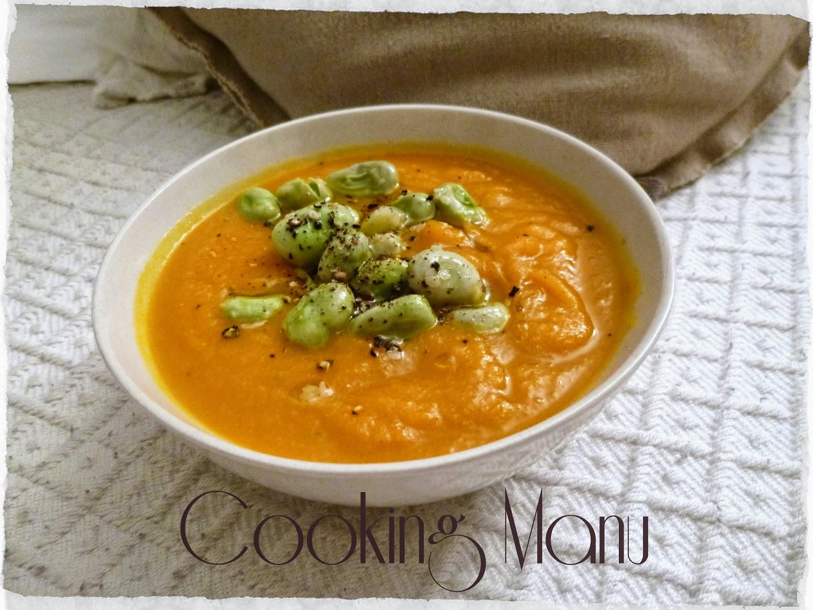 Vellutata di Carote con Fave e Pecorino (Carrots Soup with Fava Beans and Pecorino Cheese)