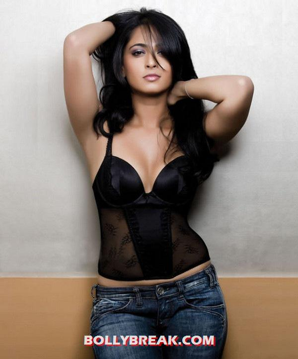 Anushka Shetty in a black transparent top - Anushka Shetty latest Hot Photo shoot