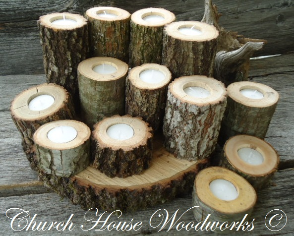 Church house collection tree branch candle holders