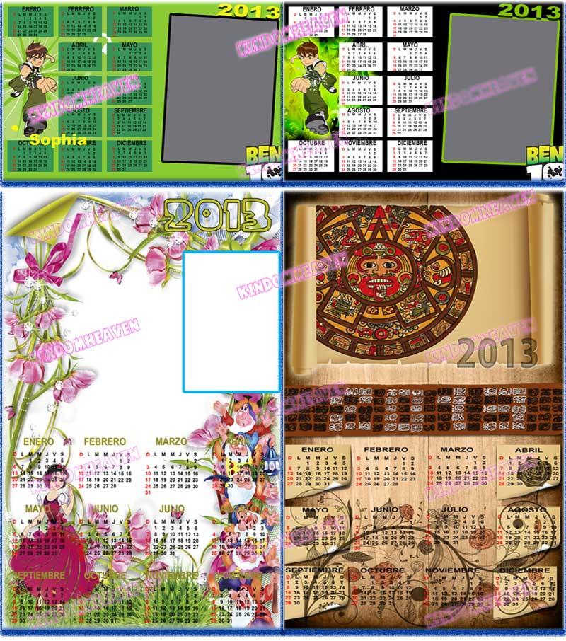 calendarios psd png 2013 para imprimir de Ben 10 romanticos calendario 2013 maya