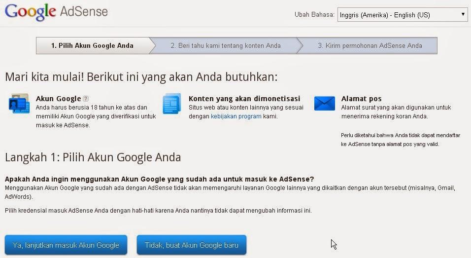 Mendaftar Menjadi Publisher Google Adsense