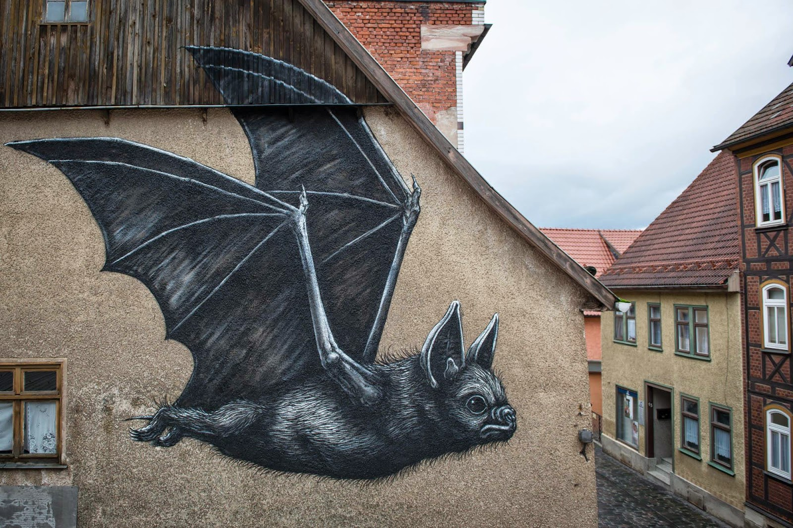 Our friend ROA is back in Europe where he was invited by the good lads from the WallCome project to paint on the streets of Schmalkalden in Germany.