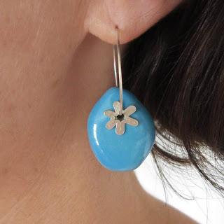 turquoise, sterling silver, hoop, earring, porcelain, glazed, star