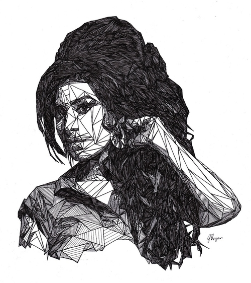 03-Amy-Winehouse-Josh-Bryan-Monochromatic-Triangulation-Drawings-Portraits-www-designstack-co