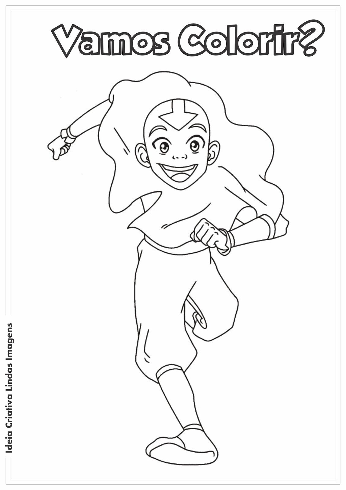 Avatar - Aang desenho para colorir