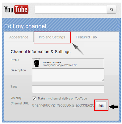 Create Custom YouTube Channel URL