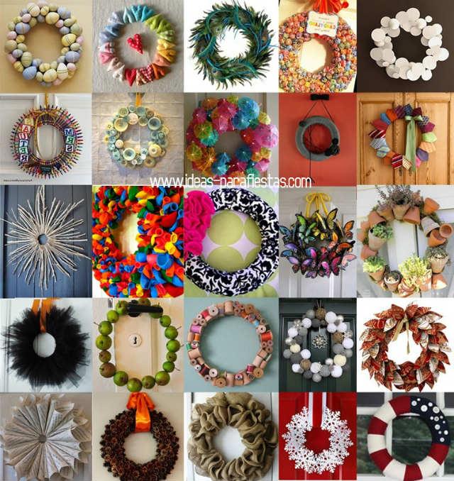 40 coronas de navidad para tu hogar diy reciclado mi for Puertas decoradas navidad material reciclable
