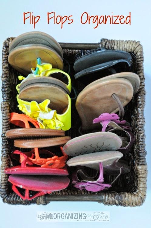 Simply organized flip flops with a basket :: OrganizingMadeFun.com