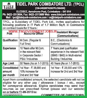 Applications are invited for the posts of Accounts Officer and Assistant Manager (Communications) in Tidel Park Coimbatore