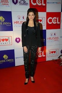 Actress Kajal Agarwal Latest Pictures in Stylish Black Dress at CCL Charity Dinner  6.JPG