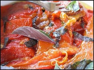 poivrons marinés au basilic