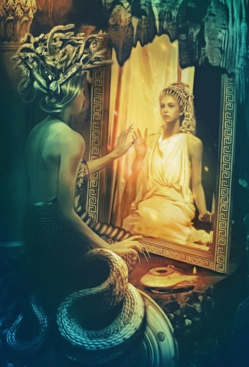 Lilia Osipova deviantart photo manipulations photoshop illustrations fantasy surreal psychedelic Gorgon Medusa and the mirror of memories